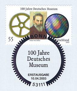 Copieux Rfa 2003: Deutsches Museum De Munich Nr 2332 Avec Bonner Ersttags Cachet! 1a! 1603-l! 1a! 1605fr-fr Afficher Le Titre D'origine Divers Styles