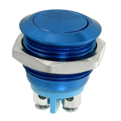 16mm  Momentary SPST Blue Stainless Steel Round Push Button Switch