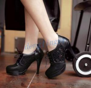 Womens-Shoes-Round-Toe-Ankle-Boots-Lace-Up-Platform-Stilettos-High-Heel-Shoes-sz