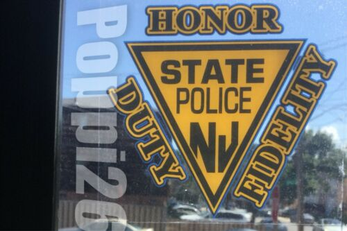 NJ NEW JERSEY STATE POLICE OFFICIAL InWINDOW Faces Out DECAL STICKER HDF NJSP