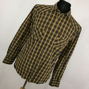 Brooks-Brothers-M-Medium-Shirt-Tan-Blue-Brown-Plaid-Pearl-Snap-Front-Western-G1