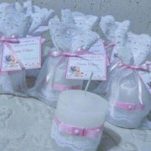 BOMBONIERA-SACCHETTO-candela-decorata-NASCITA-BATTESIMO-confetti-COMPLEANNO
