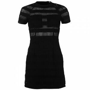 AX-Paris-Lace-Skater-Dress-Ladies-Womens-Black-UK-Size-10-REF41