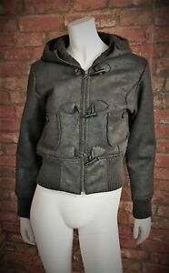 FRIDAY-GIRL-Ladies-Faux-Leather-Distressed-Hooded-Bomber-Duffle-Jacket-Size-12