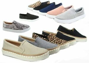 NEW-Women-039-s-Espadrilles-Classic-Slip-On-Flat-Round-Toe-Deck-Shoes-Size-5-5-11
