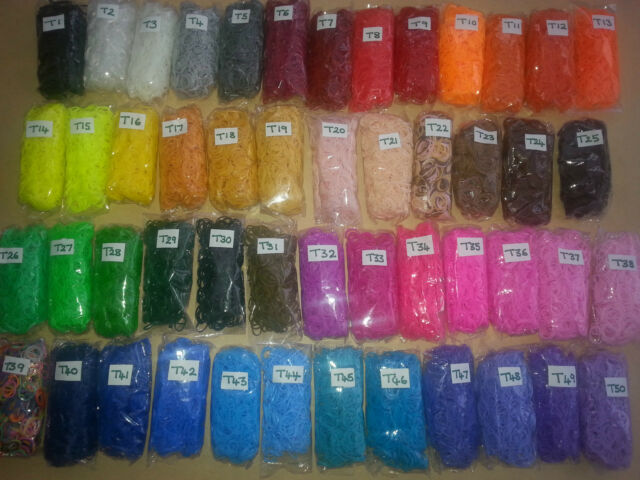 QUALITY LOOM BANDS  600 bands / clips / hook       **50 COLOURS **