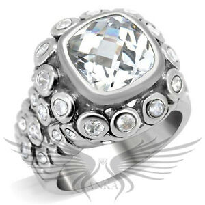 Brilliant 3.9ct Cushion Cubic Zircon CZ AAA Engagement Ring 5 6 7 8 9  0C705