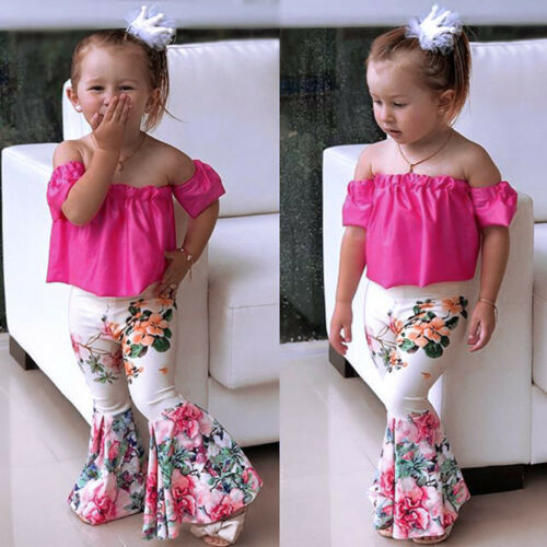 1Set Summer Toddler Baby Kids Girls Off Shoulder Tops+Bell-bottoms Pant Outfits