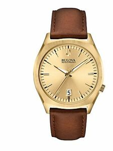 Bulova-Accutron-II-Men-039-s-97B132-Quartz-Gold-Tone-Brown-Leather-Strap-Watch