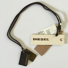 Diesel Mens Alory Brown Dog Tags Necklace Leather Metal BNWT l 34 Jeans RRP £59