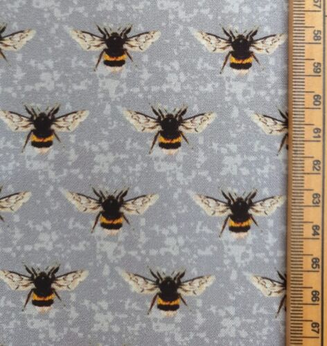 Bee fabric 100/% cotton material bumble summer grey background buzzing honey