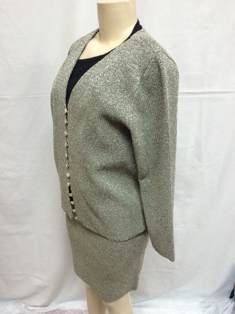 French Rags - 2 Pc Skirt Suit - gold - Sz 1 & 2 - Pre-owned