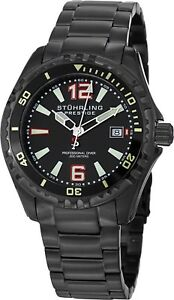 Stuhrling-Regatta-Captain-Men-039-s-44mm-Black-Swiss-Quartz-20-ATM-Watch-382-335B1