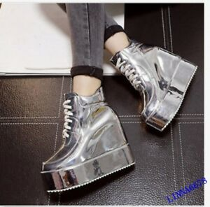 2018-Women-039-s-Ankle-Boots-Platform-Wedge-Heel-Thick-Lace-Up-Shoes-Round-Toe-New-X