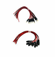 10pcs Male + 10pcs Female Power Dc Jack Cable Connector With Lead End Pigtail Y