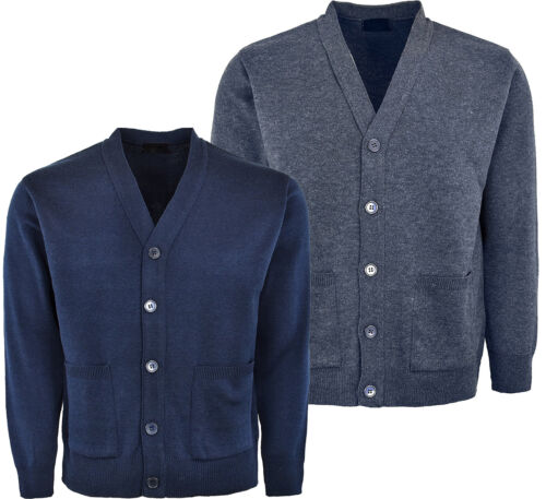 Mens Knitted Cardigan Plain Coloured Button Closure Long Sleeves