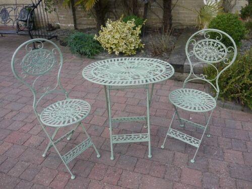 Willow Green Metal Vintage Style 2 Seater Bistro Patio Garden Furniture Set