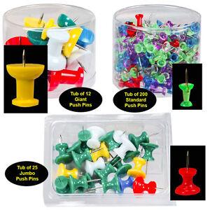 Push Pin Assortment, 12 Jumbo, 25 Giant & 200 Standard Assorted Color Push Pins