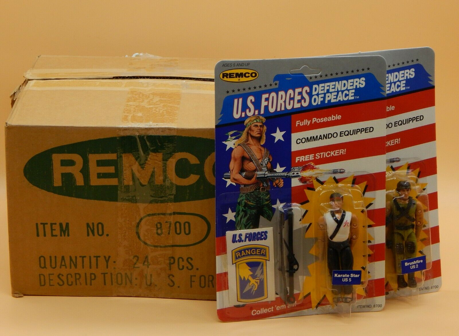 1986 vintage U.S. FORCES Brushfire & Karate Star MOC Remco  w  shipping BOX wow