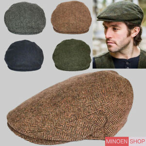 Quality-Brooklyn-Flat-Cap-Herringbone-Tweed-Hat-Mens-Gatsby-Newsboy-Wool-Mix