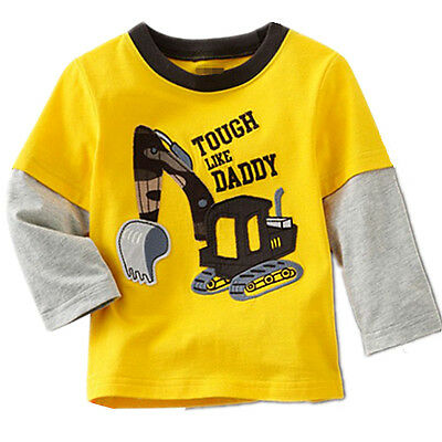 Boys Kids 100% Cotton Yellow Long Sleeve Tee Tops T-Shirt Baby Toddlers Clothing