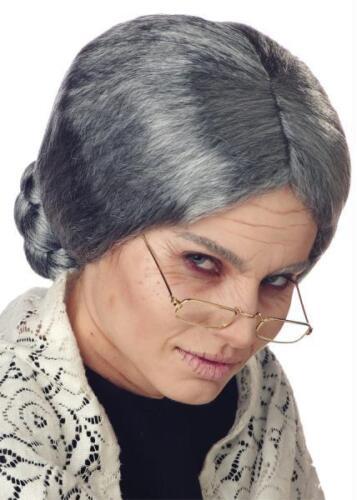 GRANDMA GRANNY OLD LADY GREY WIG WITH BUN COSTUME ACCESSORY CC70054