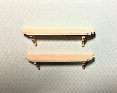 Dollhouse Miniature Large Unfinished Wall Shelves Set of 2 1:12 Scale Shelf