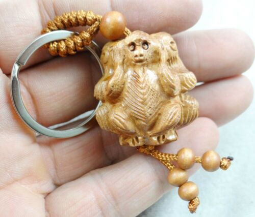 Key Ring R6 Key Chain 33*27MM Hand-carved Sword of monkey  Wooden Crafts