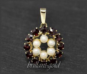Granat-und-Perlen-Anhaenger-aus-Gold-333-Gelbgold-Antik-ca-1950