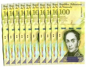 VENEZUELA-BOLIVARES-10-X-100000-100-000-P-NEW-UNC-LOT-10-PCS-Total