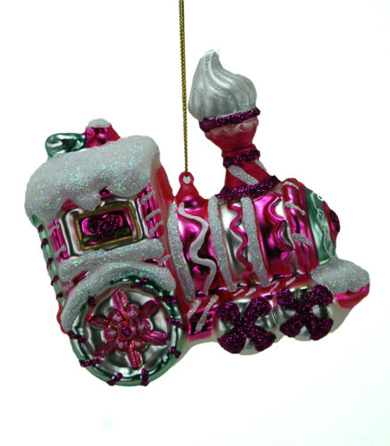 22-524716 Katherine/'s Collection Candy Christmas Train Glass Ornament Pink White