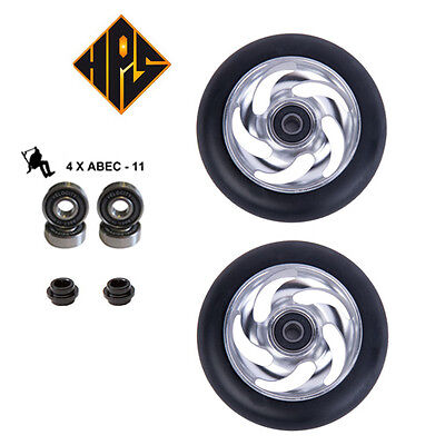 2 PRO STUNT SCOOTER SILVER TWISTER METAL CORE WHEELS 110mm 88A ABEC 11 BEARING 9