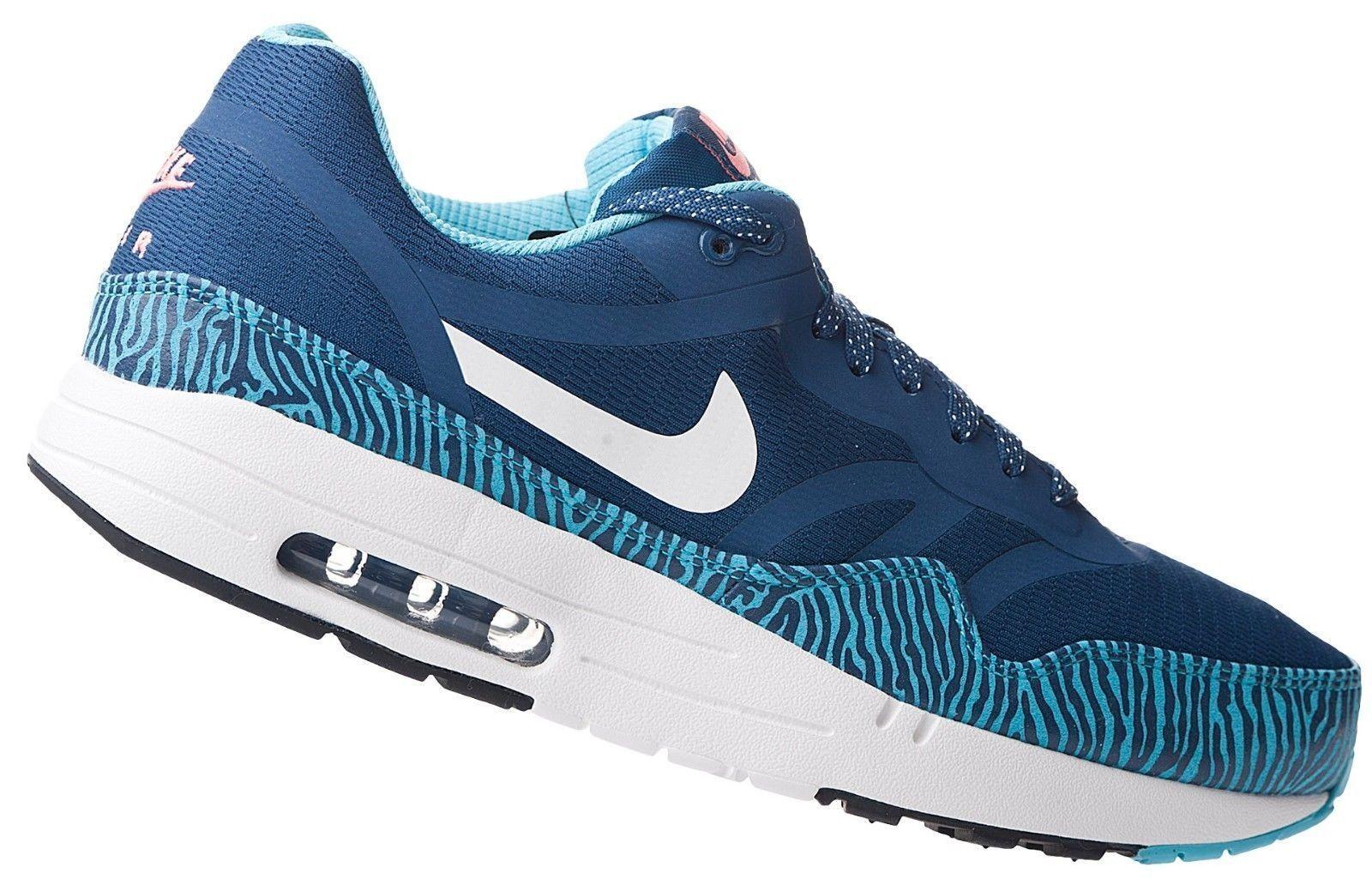Nike Air Max 1 PRM TAPE Brave Blue & Summit Whit Sz 9.5 599514-410 Mens