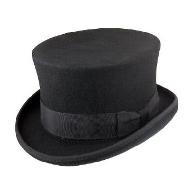 Hand Made Black 100% Wool Top Hat Wedding Event Hat 5 Sizes