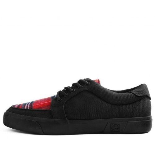 A9300 Vegan Hommes Chaussures Noir TARTAN TOILE GOMME Creeper Sneaker Skater T.U.K