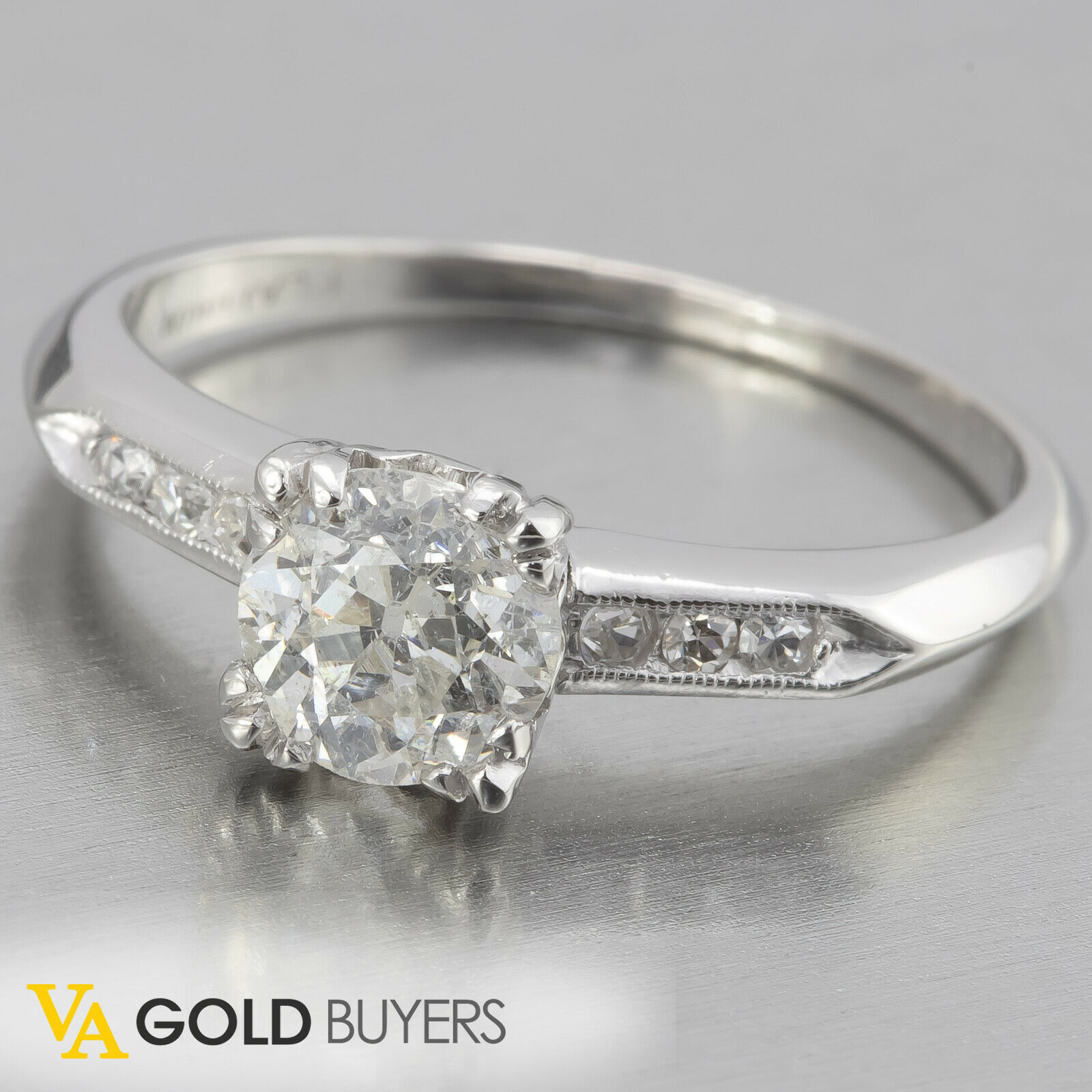 1930s Antique Art Deco Platinum Dovetail Diamond Engagement Ring EGL - 0.89tcw
