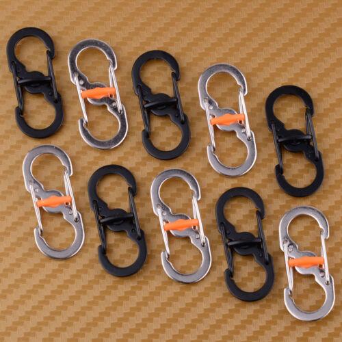 10Pcs Outdoor S Shape 8 Type Carabiner Key Chain Hook Clip Buckle Slidelock