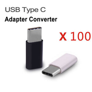100x USB Type C Male Connector to Micro USB Female Converter USB-C Adapter