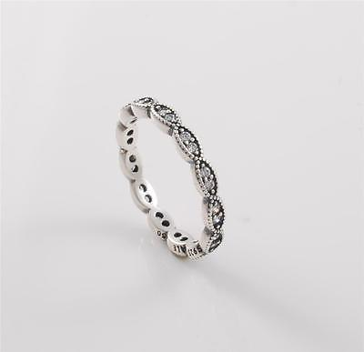 Authentic Genuine Pandora Sterling Silver Sparkling Leaves Ring 190923CZ-58