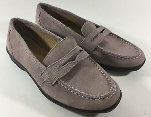 Women's Lands End shoes Lilac shoes suede Leather Slip-On Loafers Size 5.5 (wr