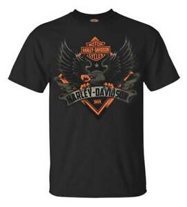 Harley-Davidson-Men-039-s-Phenomenon-Eagle-Short-Sleeve-T-Shirt-Solid-Black