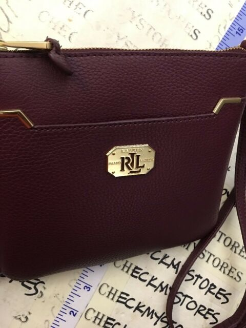 77da5a9040 Ralph Lauren Acadia II Women s Crossbody Bag Messenger Red Burgundy Leather  Gold for sale online