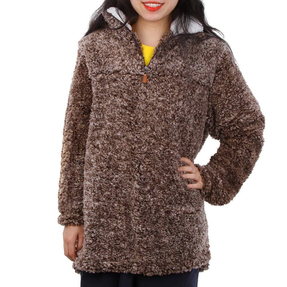 MEETWARM Womens Warm Long Sleeves 1//4 Zip Fleece Casual Sherpa Pullover Coat Fuzzy Sweatshirts Soft Outwear