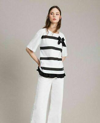 Maglia Manica Corta Donna My Twin Twinset Con Fiocco T Shirt Casual Bianco Nero   eBay
