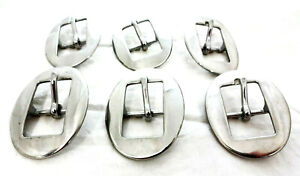 Lot of 6 Flat Dee Buckles Stainless Steel Western Horse Tack Hardware Belts Spur Straps Uptugs Headstall Saddles