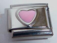 PINK HEART Italian Charm - October Birthstone I Love you - fits 9mm Bracelets