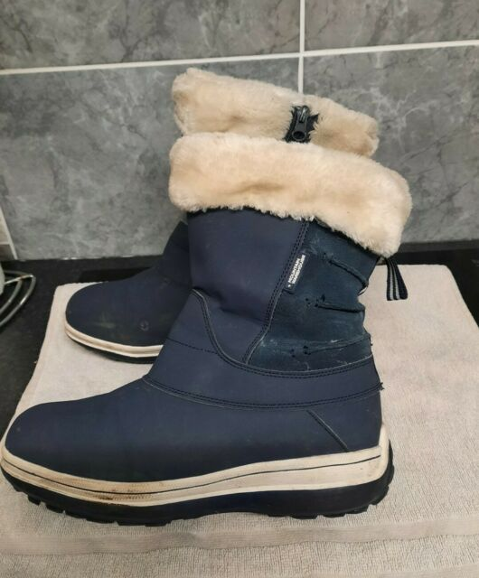 MOUNTAIN WAREHOUSE FAUX FUR LINED SNOW BOOTS BLUE - SIZE 7 (40)
