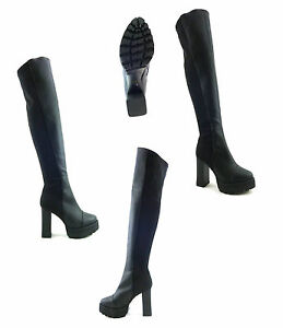 c72ae506294f womens ladies sexy over the knee thigh high chunky platform heel ...