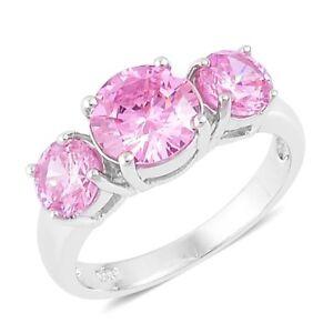 PINK-POSH-DIAMOND-SIMULATE-PAST-PRESENT-FUTURE-ANNIVERSARY-STERLING-SILVER-RING