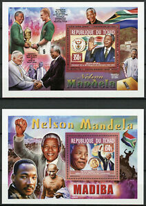 Chad-2013-MNH-Nelson-Mandela-Nobel-Prize-2x-1v-Deluxe-S-S-Famous-People-Stamps
